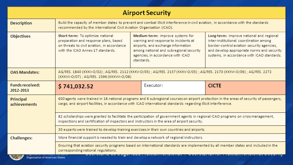 Airport Security Description Build the capacity of member states to prevent and combat illicit interference in civil aviation, in accordance with the