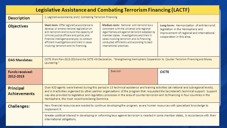 Legislative Assistance and Combating Terrorism Financing (LACTF) Description 1. Legislative assistance; and 2. Combating Terrorism Financing Objective