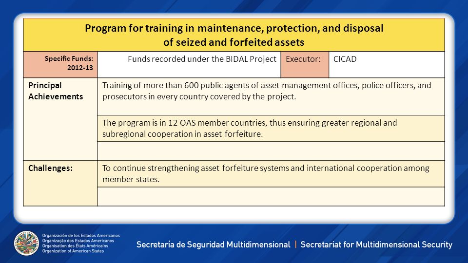 Program for training in maintenance, protection, and disposal of seized and forfeited assets Specific Funds: 2012-13 Funds recorded under the BIDAL Pr