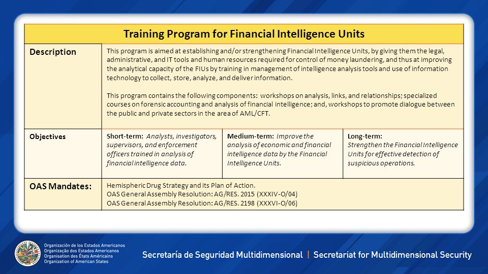 Training Program for Financial Intelligence Units Description This program is aimed at establishing and/or strengthening Financial Intelligence Units,