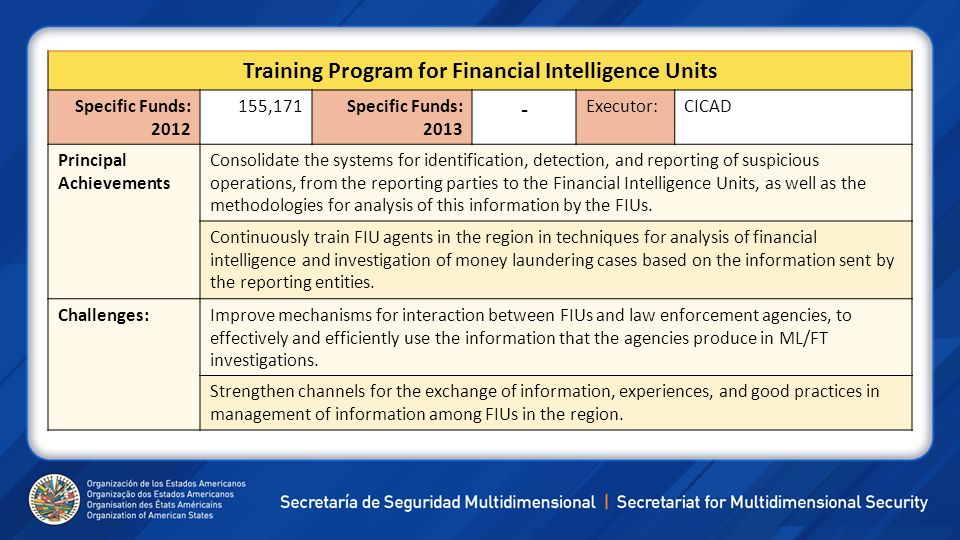 Training Program for Financial Intelligence Units Specific Funds: 2012 155,171Specific Funds: 2013 - Executor:CICAD Principal Achievements Consolidate