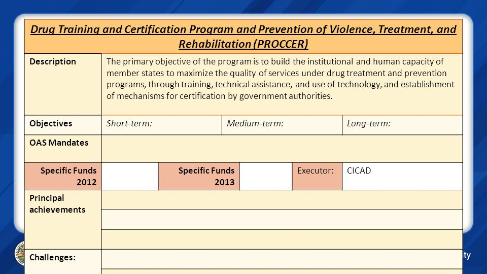 Drug Training and Certification Program and Prevention of Violence, Treatment, and Rehabilitation (PROCCER) DescriptionThe primary objective of the pr