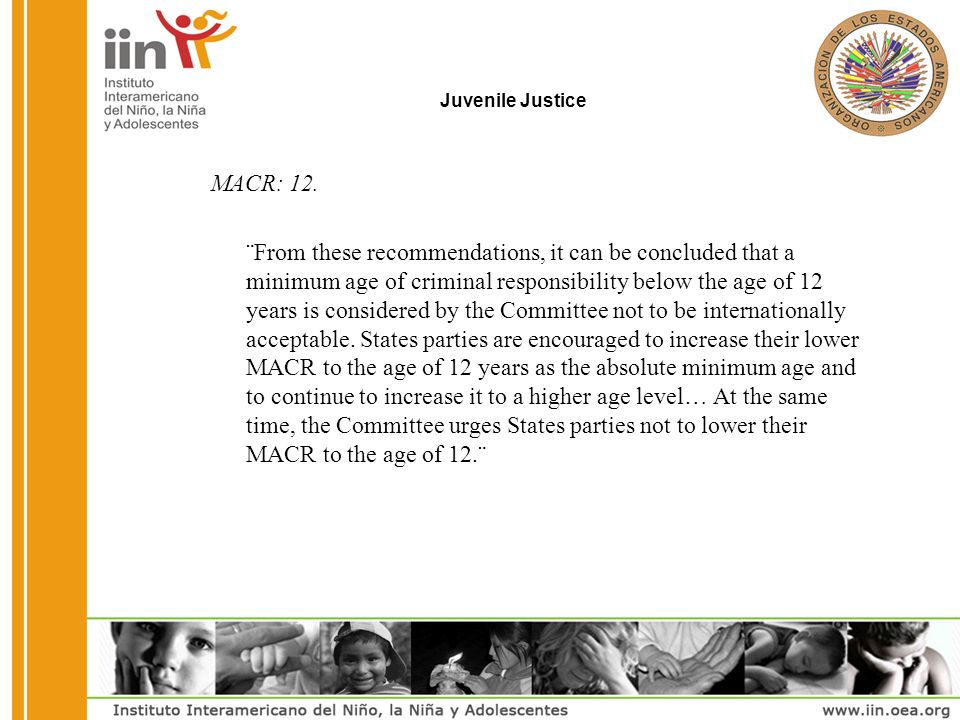 Juvenile Justice MACR: 12.