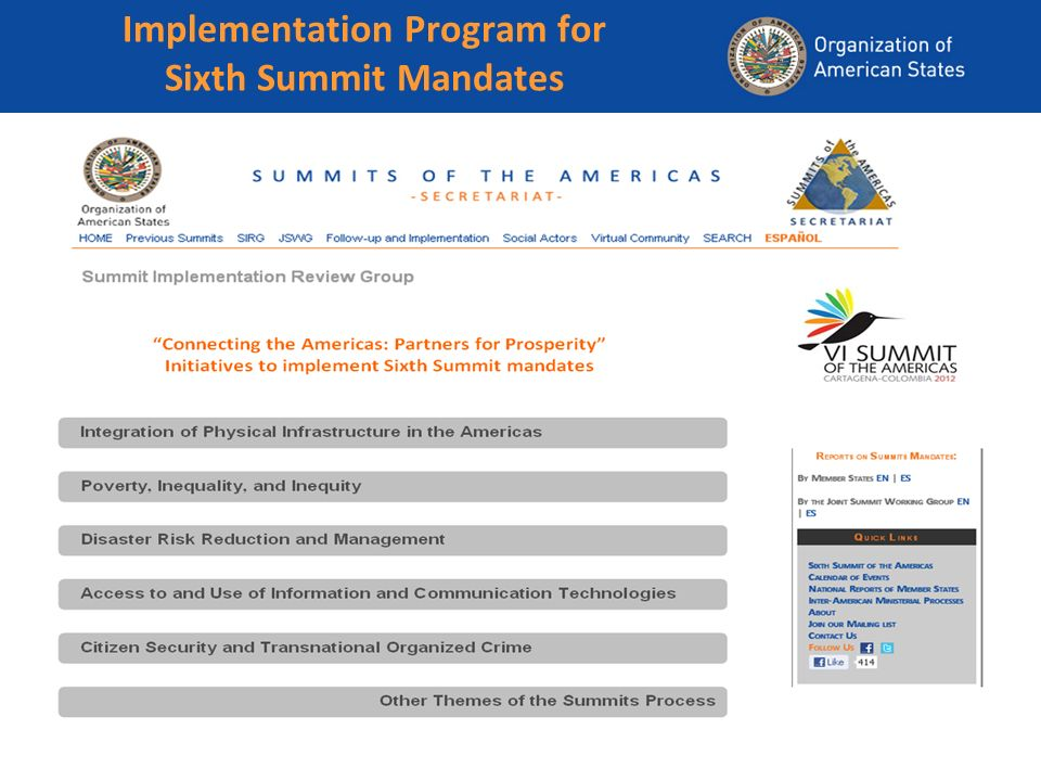 Implementation Program for Sixth Summit Mandates