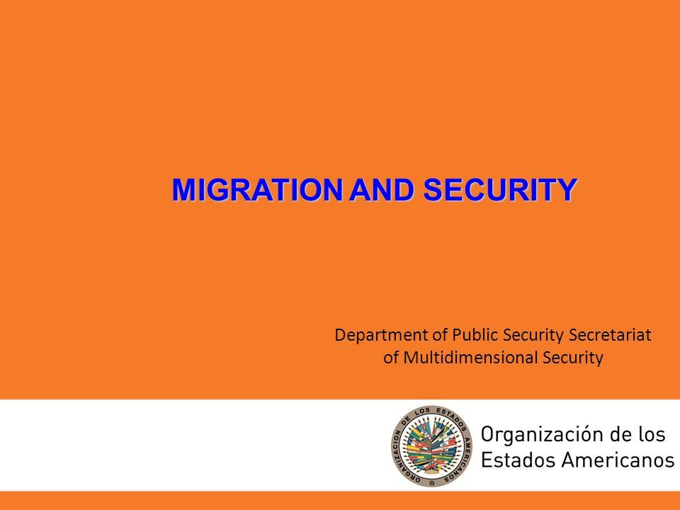 Department of Public Security Secretariat of Multidimensional Security MIGRATION AND SECURITY