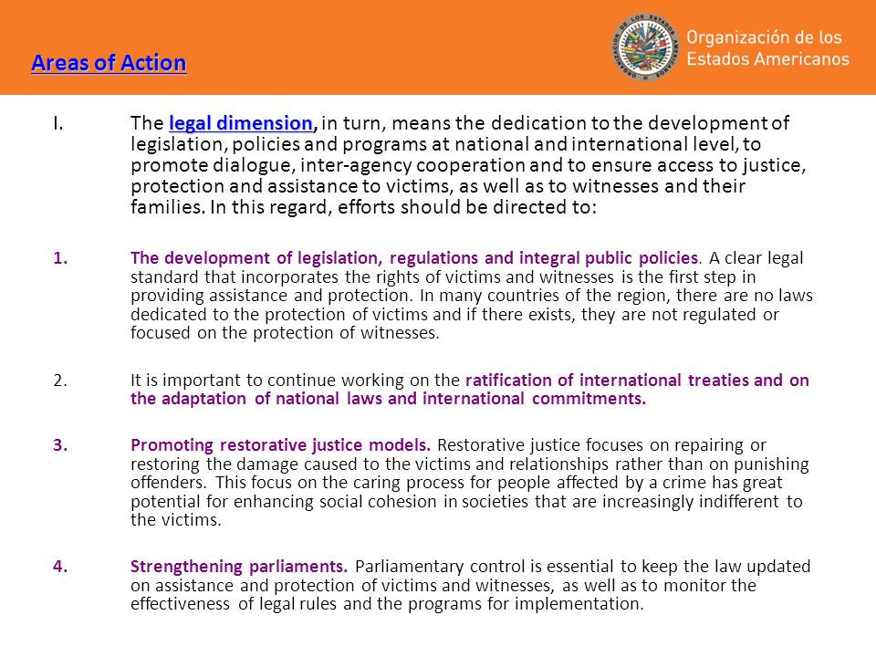 Areas of Action legal dimension I.The legal dimension, in turn, means the dedication to the development of legislation, policies and programs at natio
