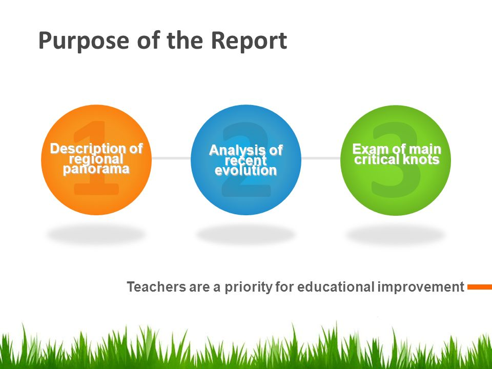 Purpose of the Report Teachers are a priority for educational improvement 1 Description of regional panorama 2 Analysis of recent evolution 3 Exam of