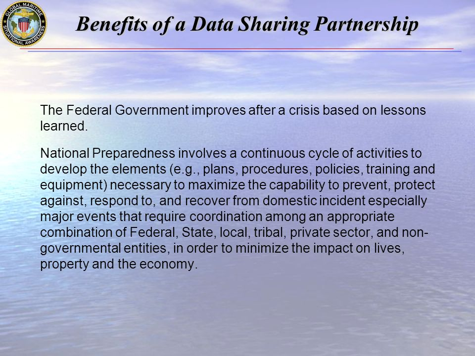The Federal Government improves after a crisis based on lessons learned.