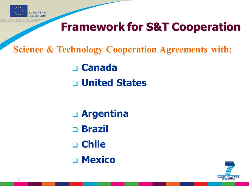 4 Framework for S&T Cooperation Canada United States Argentina Brazil Chile Mexico Science & Technology Cooperation Agreements with: