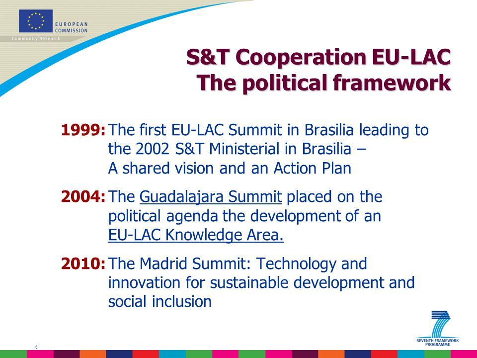 5 S&T Cooperation EU-LAC The political framework 1999:The first EU-LAC Summit in Brasilia leading to the 2002 S&T Ministerial in Brasilia – A shared vision and an Action Plan 2004:The Guadalajara Summit placed on the political agenda the development of an EU-LAC Knowledge Area.