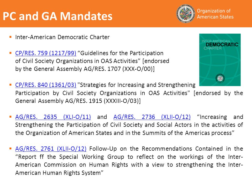 PC and GA Mandates Inter-American Democratic Charter CP/RES.