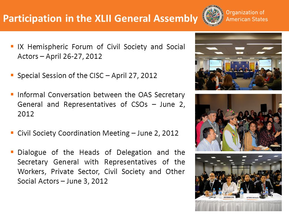 Participation in the XLII General Assembly IX Hemispheric Forum of Civil Society and Social Actors – April 26-27, 2012 Special Session of the CISC – April 27, 2012 Informal Conversation between the OAS Secretary General and Representatives of CSOs – June 2, 2012 Civil Society Coordination Meeting – June 2, 2012 Dialogue of the Heads of Delegation and the Secretary General with Representatives of the Workers, Private Sector, Civil Society and Other Social Actors – June 3, 2012