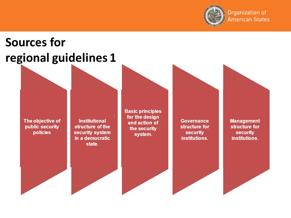 Sources for regional guidelines 1 The objective of public security policies Institutional structure of the security system in a democratic state. Basi