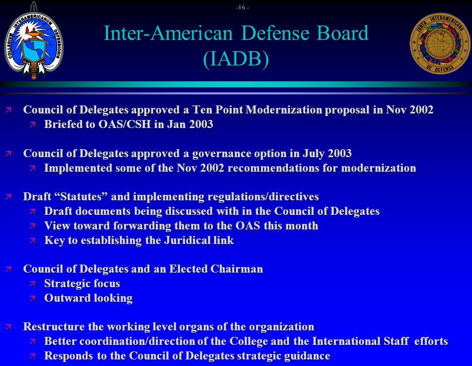 OAS Support 19% of Total Resources ä Direct Funding $1.487 Million ä IADB Building $.864 Million ä Total$2.351 Million - 17 -