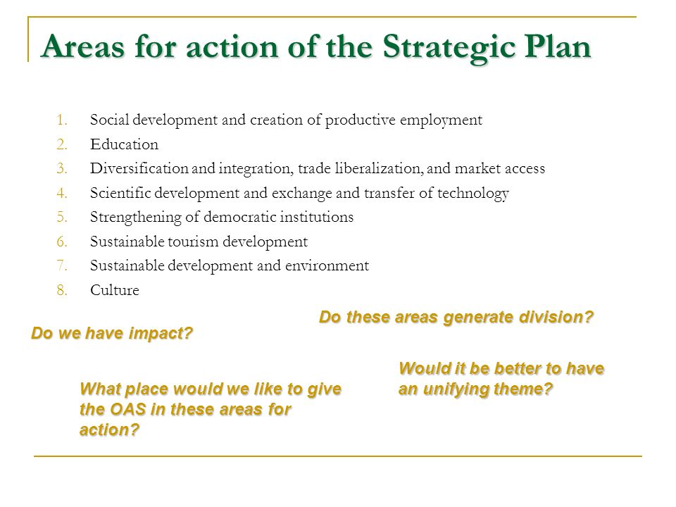 Areas for action of the Strategic Plan 1.Social development and creation of productive employment 2.Education 3.Diversification and integration, trade liberalization, and market access 4.Scientific development and exchange and transfer of technology 5.Strengthening of democratic institutions 6.Sustainable tourism development 7.Sustainable development and environment 8.Culture Do these areas generate division.