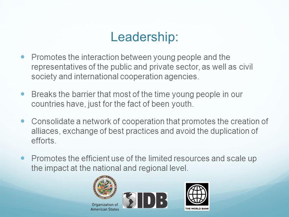 Leadership: Promotes the interaction between young people and the representatives of the public and private sector, as well as civil society and inter