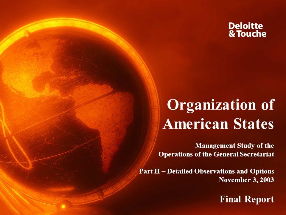 Final Report – November 3, 2003 Organizational Structure Implement Strategic Planning Framework Redesign Organization Structure Establish Chief Operating Officer Position Implement Regionalized OGSMS 22