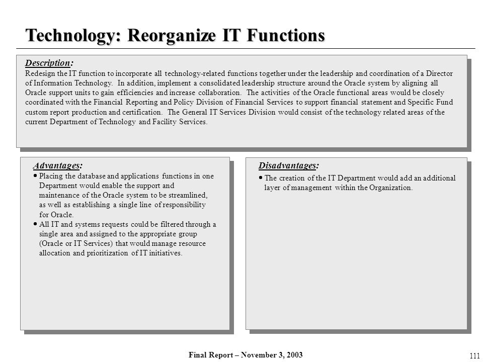 Final Report – November 3, 2003 Technology: Reorganize IT Functions Description: Redesign the IT function to incorporate all technology-related functi