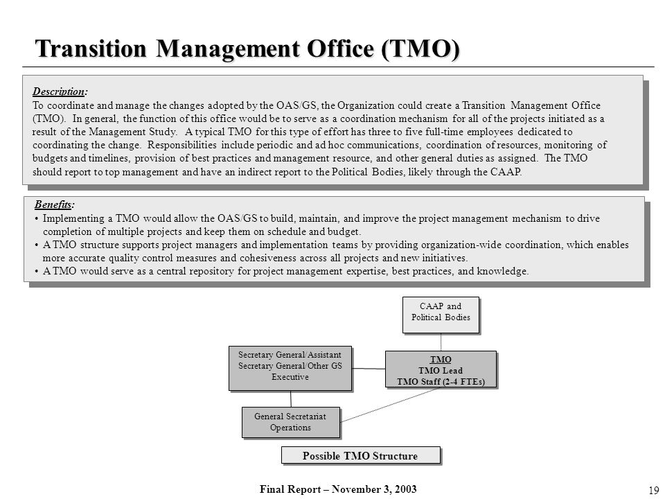 Final Report – November 3, 2003 Transition Management Office (TMO) Description: To coordinate and manage the changes adopted by the OAS/GS, the Organi