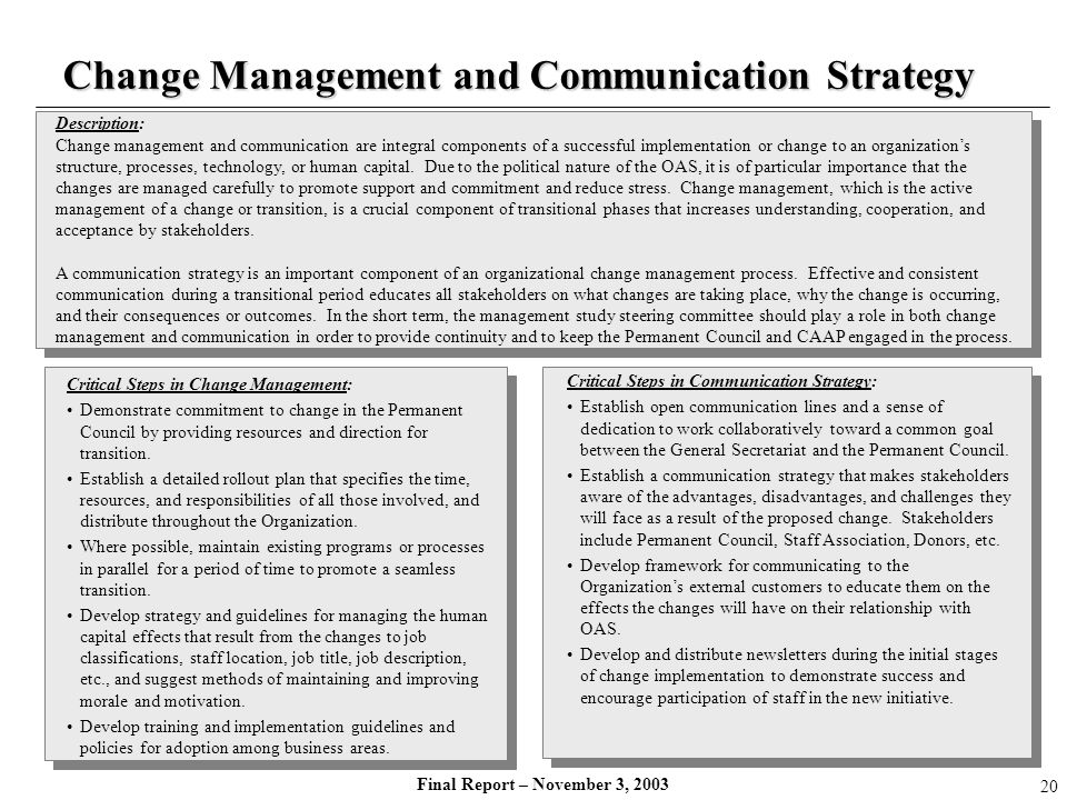 Final Report – November 3, 2003 Description: Change management and communication are integral components of a successful implementation or change to a