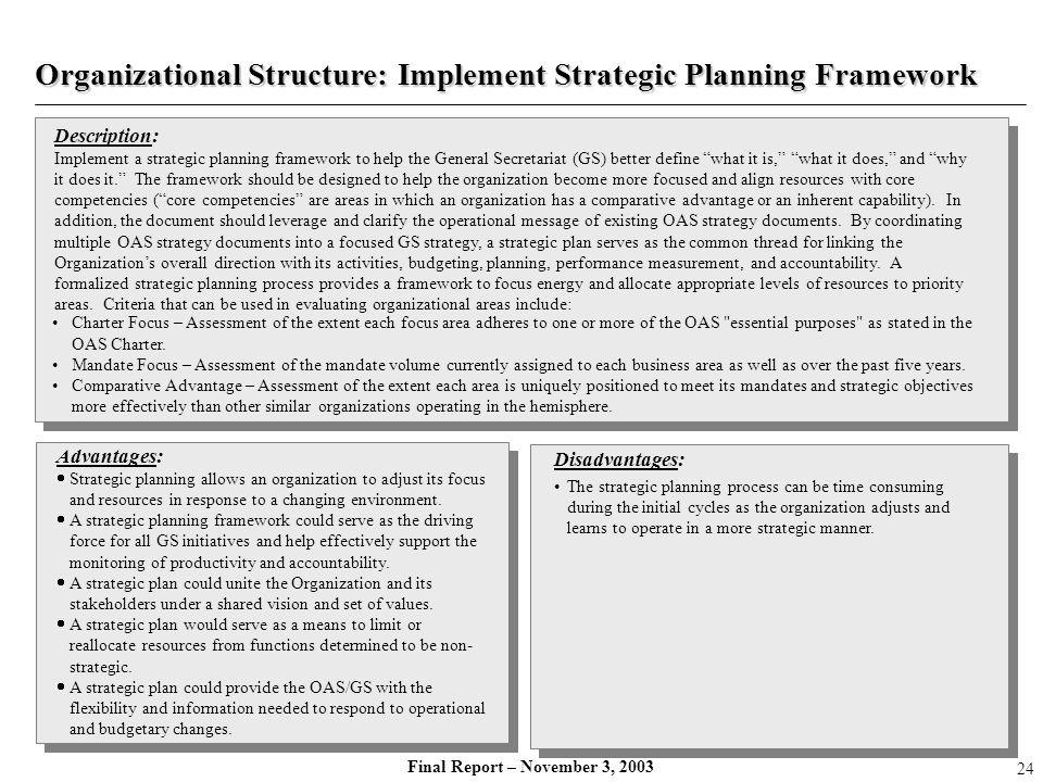Final Report – November 3, 2003 Description: Implement a strategic planning framework to help the General Secretariat (GS) better define what it is, w