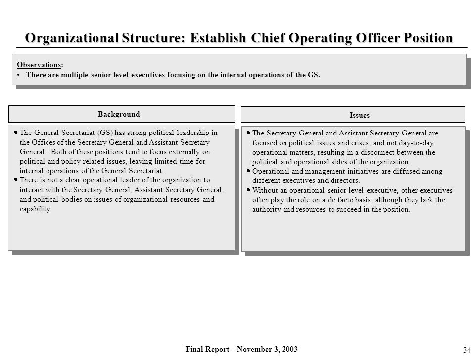 Final Report – November 3, 2003 Organizational Structure: Establish Chief Operating Officer Position The General Secretariat (GS) has strong political