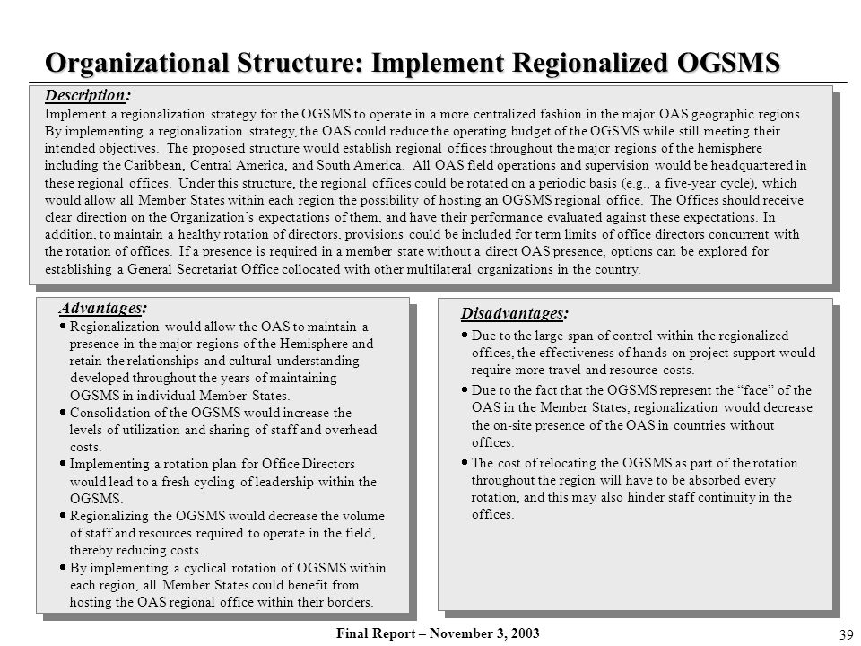 Final Report – November 3, 2003 Description: Implement a regionalization strategy for the OGSMS to operate in a more centralized fashion in the major