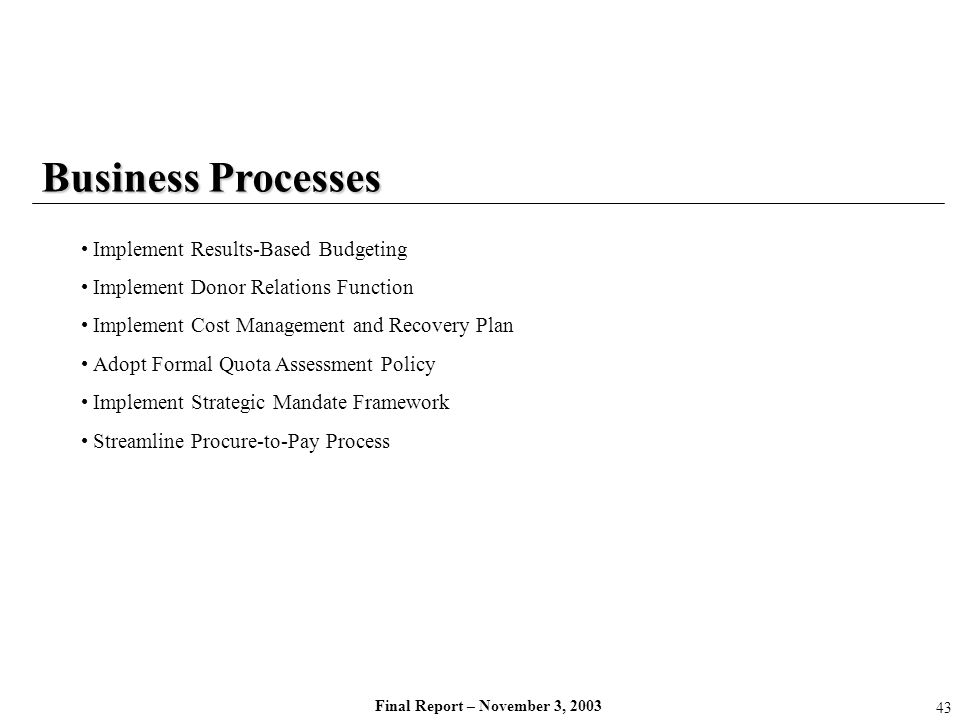 Final Report – November 3, 2003 Business Processes Implement Results-Based Budgeting Implement Donor Relations Function Implement Cost Management and