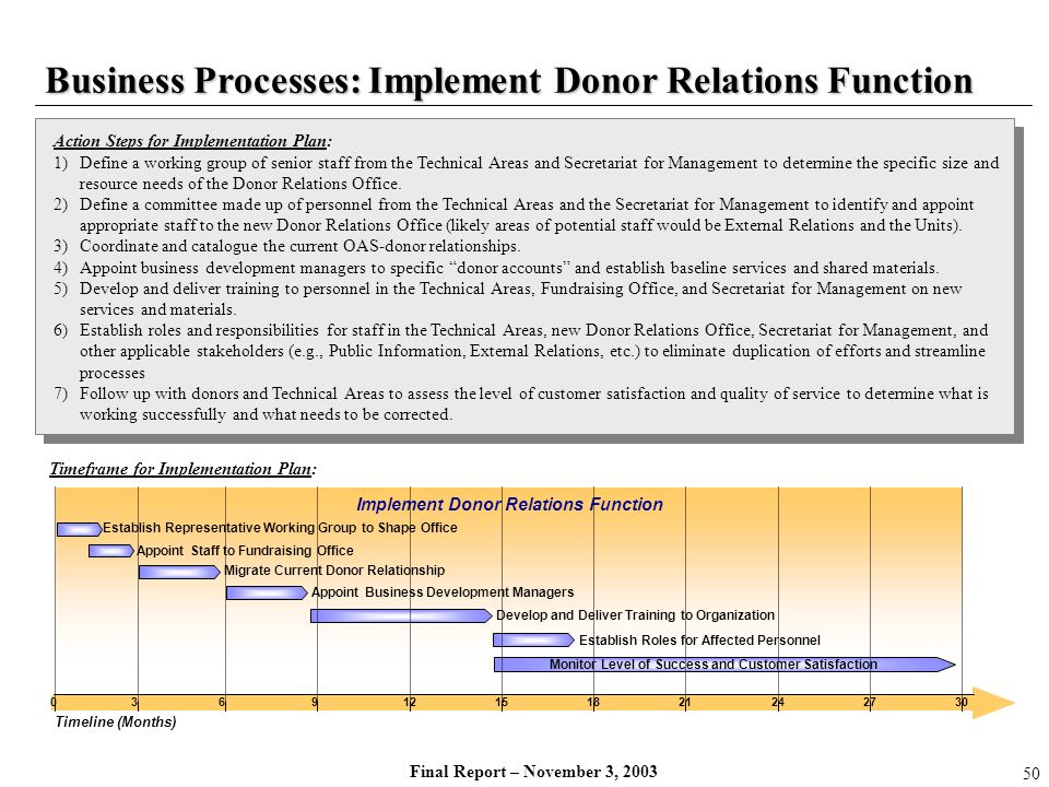Final Report – November 3, 2003 Timeframe for Implementation Plan: Action Steps for Implementation Plan: 1)Define a working group of senior staff from