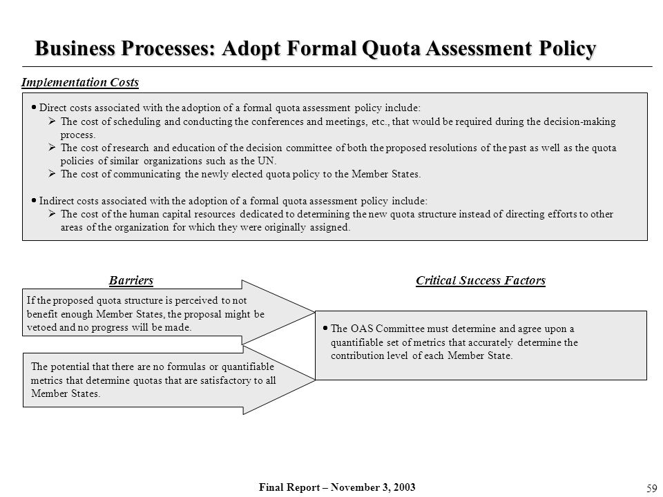 Final Report – November 3, 2003 If the proposed quota structure is perceived to not benefit enough Member States, the proposal might be vetoed and no