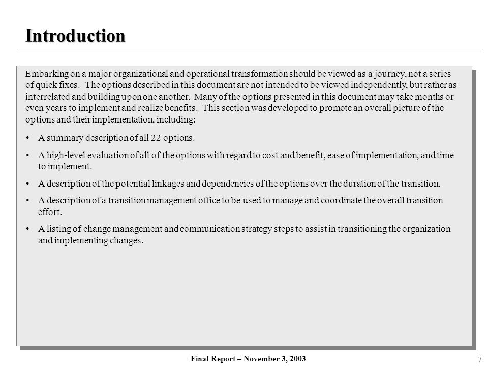 Final Report – November 3, 2003 Summary of Options: Organizational Structure Focus AreaSub AreaOptionDescription Organizational Structure Strategic PlanningImplement Strategic Planning Framework Implement a strategic planning process to develop a strategic framework including strategic objectives and vision.