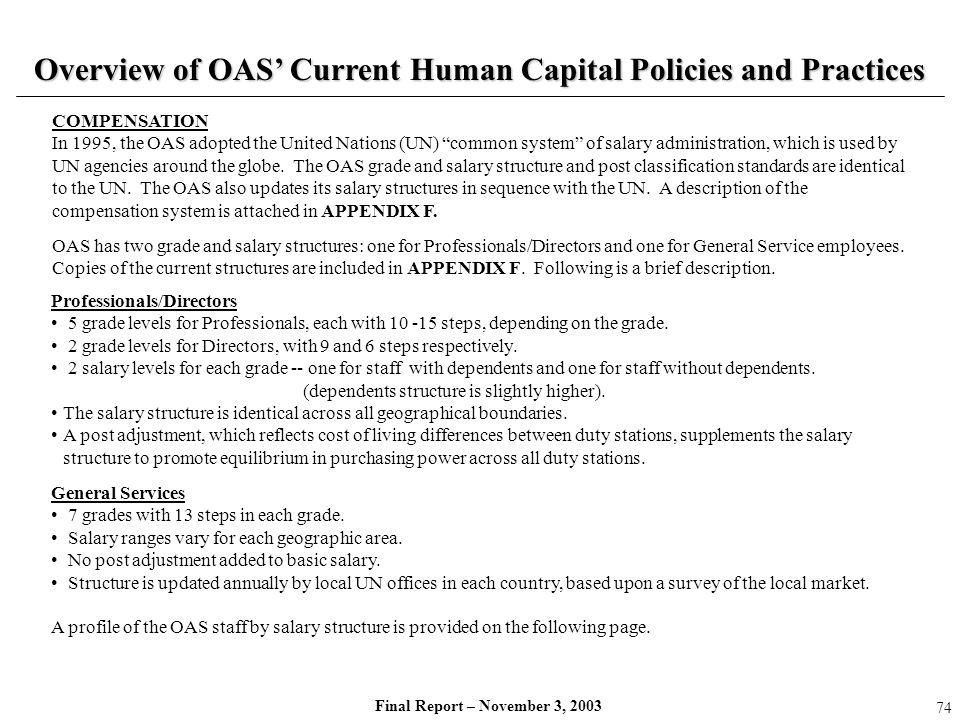 Final Report – November 3, 2003 Overview of OAS Current Human Capital Policies and Practices Professionals/Directors 5 grade levels for Professionals,