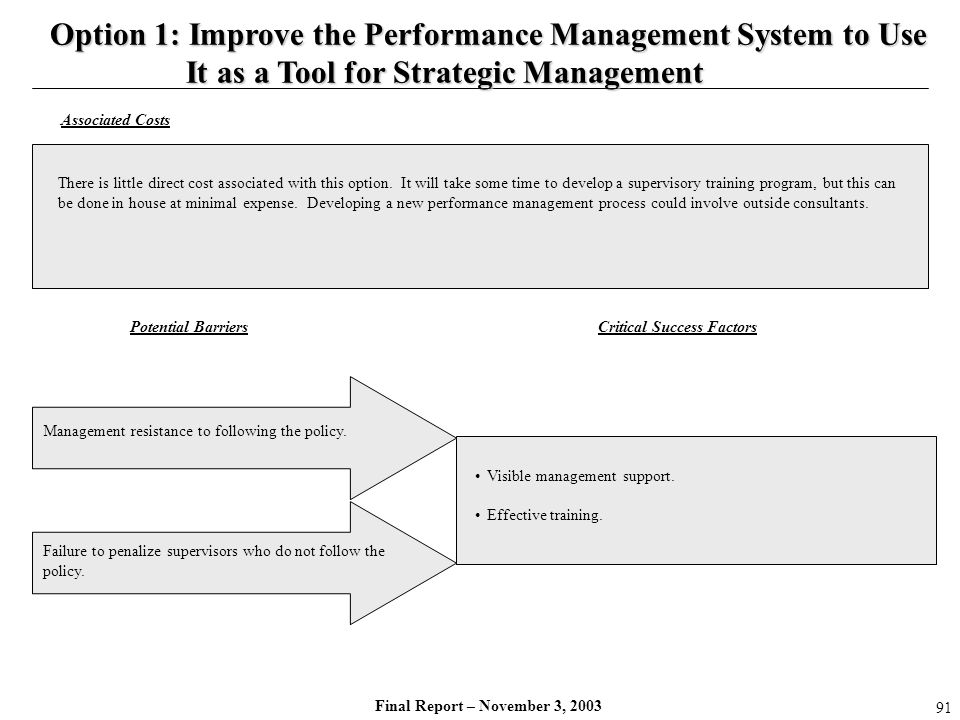 Final Report – November 3, 2003 Management resistance to following the policy. Visible management support. Effective training. Critical Success Factor