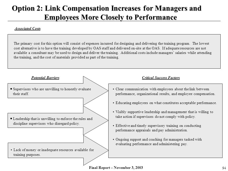 Final Report – November 3, 2003 Supervisors who are unwilling to honestly evaluate their staff. Clear communication with employees about the link betw