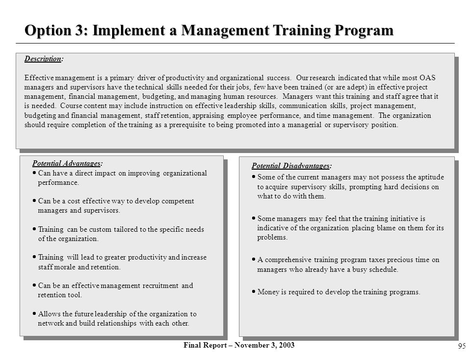 Final Report – November 3, 2003 Description: Effective management is a primary driver of productivity and organizational success. Our research indicat