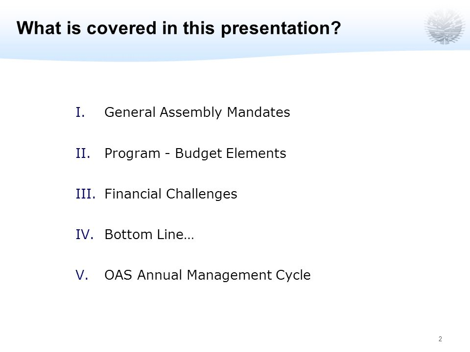 2 What is covered in this presentation.