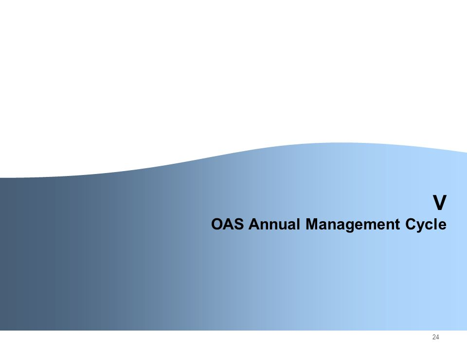24 V OAS Annual Management Cycle