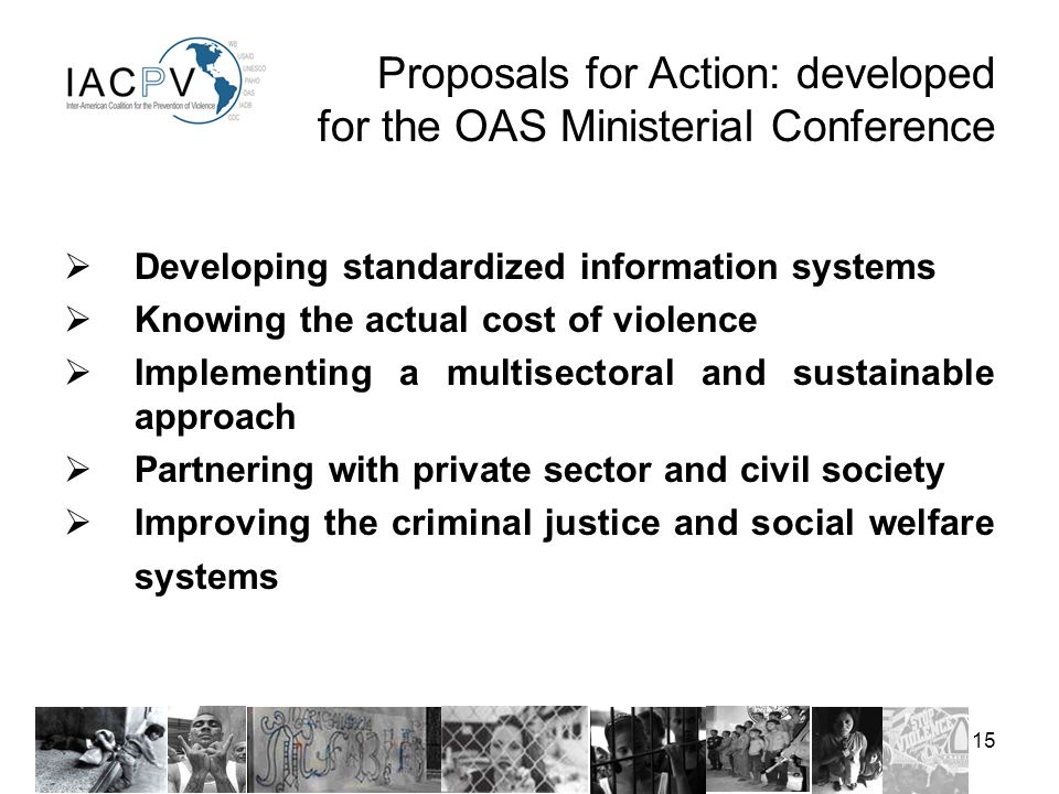 15 Developing standardized information systems Knowing the actual cost of violence Implementing a multisectoral and sustainable approach Partnering with private sector and civil society Improving the criminal justice and social welfare systems Proposals for Action: developed for the OAS Ministerial Conference