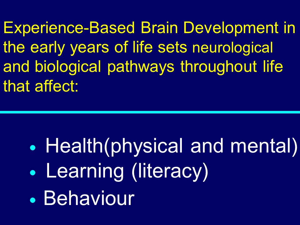 03-080 Health(physical and mental) Learning (literacy) Behaviour Experience-Based Brain Development in the early years of life sets neurological and b
