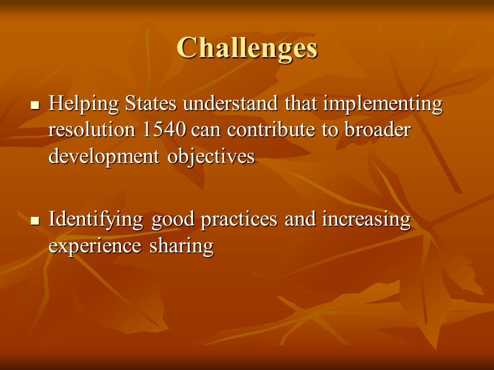 Challenges Helping States understand that implementing resolution 1540 can contribute to broader development objectives Helping States understand that implementing resolution 1540 can contribute to broader development objectives Identifying good practices and increasing experience sharing Identifying good practices and increasing experience sharing