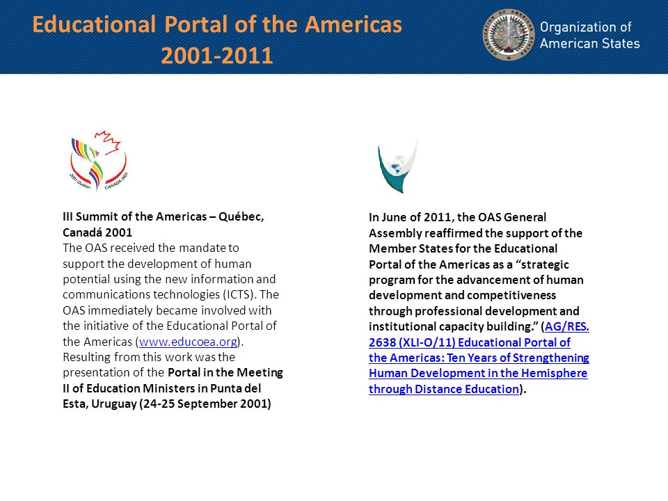 III Summit of the Americas – Québec, Canadá 2001 The OAS received the mandate to support the development of human potential using the new information