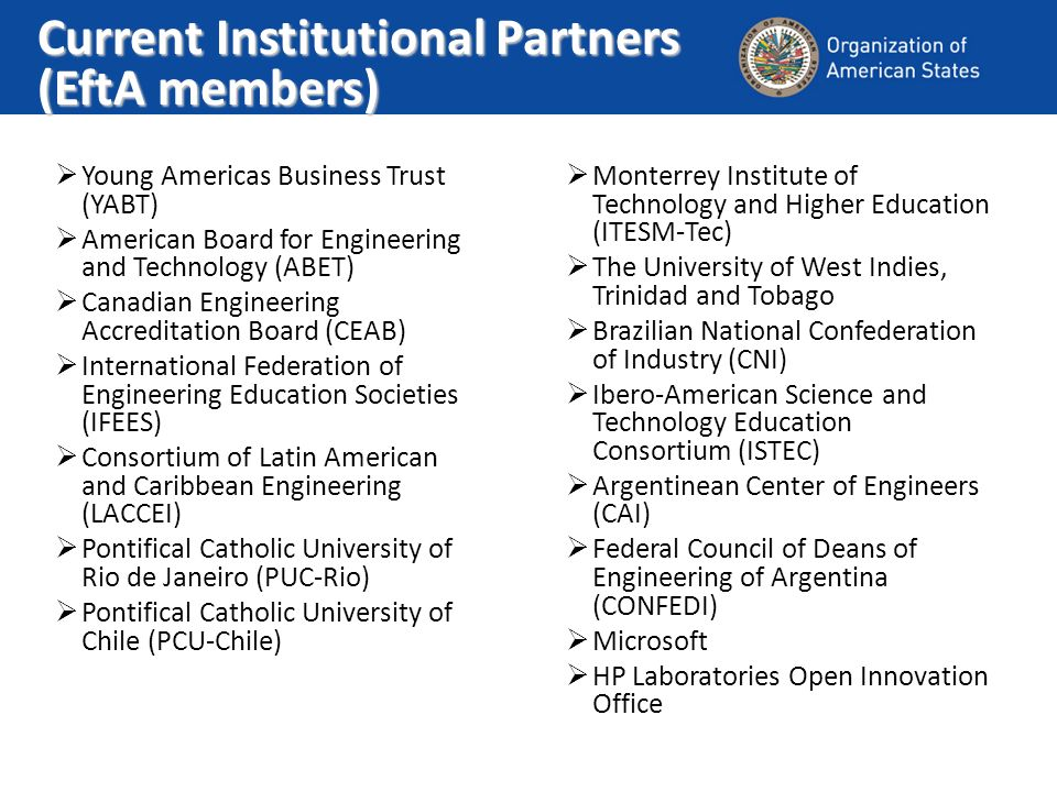 Current Institutional Partners (EftA members) Young Americas Business Trust (YABT) American Board for Engineering and Technology (ABET) Canadian Engineering Accreditation Board (CEAB) International Federation of Engineering Education Societies (IFEES) Consortium of Latin American and Caribbean Engineering (LACCEI) Pontifical Catholic University of Rio de Janeiro (PUC-Rio) Pontifical Catholic University of Chile (PCU-Chile) Monterrey Institute of Technology and Higher Education (ITESM-Tec) The University of West Indies, Trinidad and Tobago Brazilian National Confederation of Industry (CNI) Ibero-American Science and Technology Education Consortium (ISTEC) Argentinean Center of Engineers (CAI) Federal Council of Deans of Engineering of Argentina (CONFEDI) Microsoft HP Laboratories Open Innovation Office