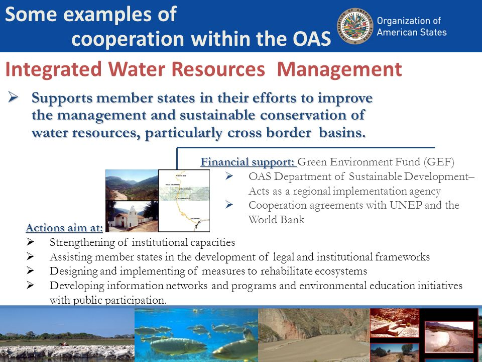 Integrated Water Resources Management Supports member states in their efforts to improve the management and sustainable conservation of water resources, particularly cross border basins.