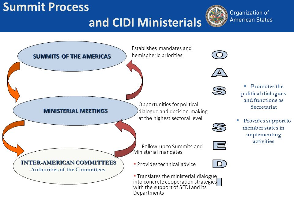 Summit Process and CIDI Ministerials SUMMITS OF THE AMERICAS MINISTERIAL MEETINGS INTER-AMERICAN COMMITTEES Authorities of the Committees Establishes