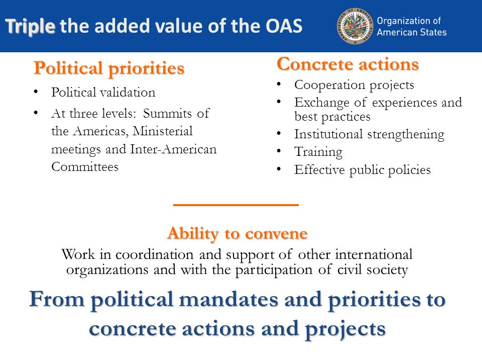 Triple Triple the added value of the OAS Political priorities Political validation At three levels: Summits of the Americas, Ministerial meetings and Inter-American Committees Concrete actions Cooperation projects Exchange of experiences and best practices Institutional strengthening Training Effective public policies From political mandates and priorities to concrete actions and projects Ability to convene Work in coordination and support of other international organizations and with the participation of civil society