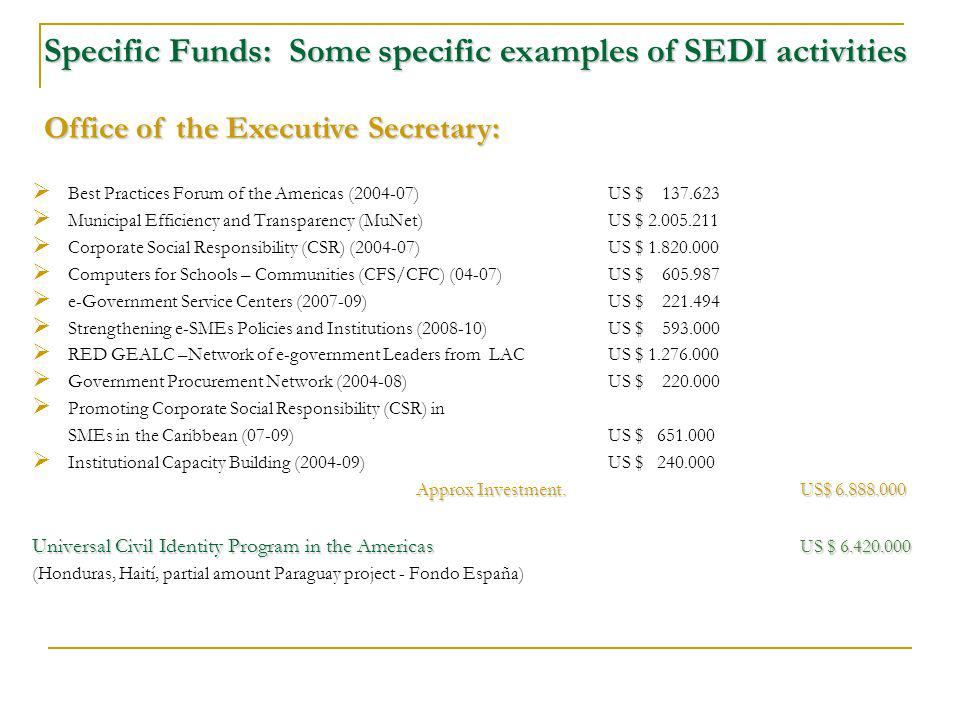 Specific Funds: Some specific examples of SEDI activities Best Practices Forum of the Americas ( )US $ Municipal Efficiency and Transparency (MuNet) US $ Corporate Social Responsibility (CSR) ( )US $ Computers for Schools – Communities (CFS/CFC) (04-07)US $ e-Government Service Centers ( ) US $ Strengthening e-SMEs Policies and Institutions ( ) US $ RED GEALC –Network of e-government Leaders from LAC US $ Government Procurement Network ( )US $ Promoting Corporate Social Responsibility (CSR) in SMEs in the Caribbean (07-09)US $ Institutional Capacity Building ( ) US $ Approx Investment.US$ Universal Civil Identity Program in the Americas US $ (Honduras, Haití, partial amount Paraguay project - Fondo España) Office of the Executive Secretary: