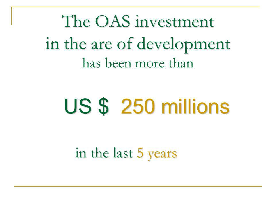 The OAS investment in the are of development The OAS investment in the are of development has been more than US $ 250 millions in the last 5 years