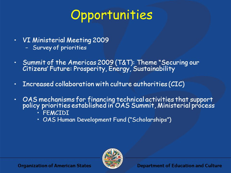 Department of Education and CultureOrganization of American States Opportunities VI Ministerial Meeting 2009 –Survey of priorities Summit of the Americas 2009 (T&T): Theme Securing our Citizens Future: Prosperity, Energy, Sustainability Increased collaboration with culture authorities (CIC) OAS mechanisms for financing technical activities that support policy priorities established in OAS Summit, Ministerial process FEMCIDI OAS Human Development Fund (Scholarships)