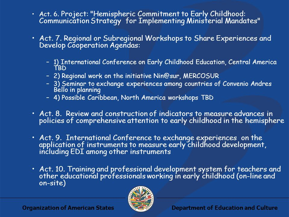 Department of Education and CultureOrganization of American States Act.