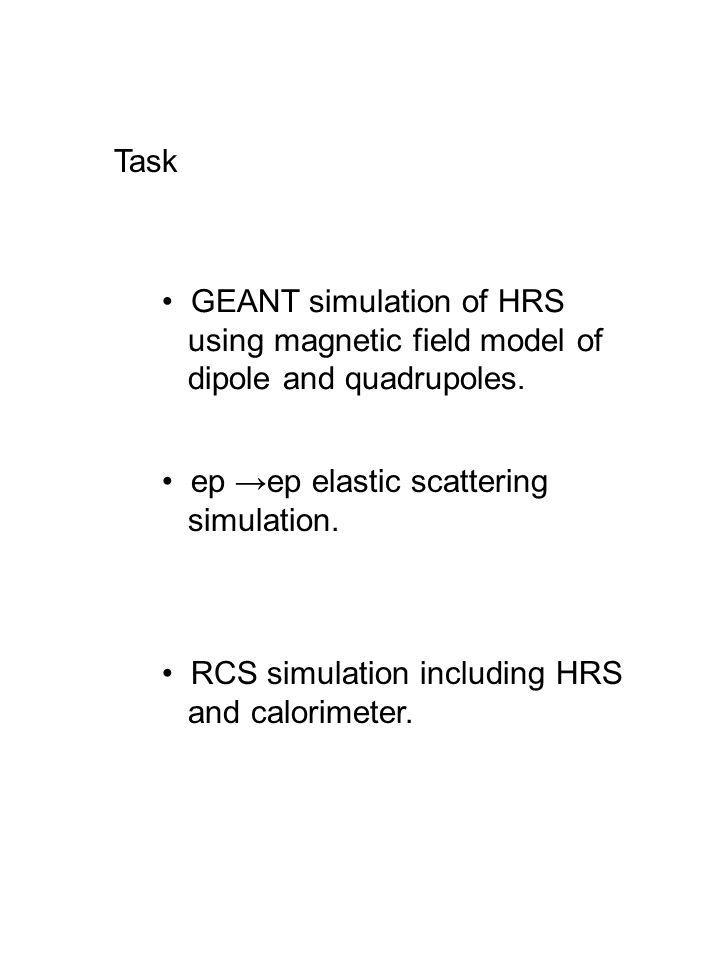 Task GEANT simulation of HRS using magnetic field model of dipole and quadrupoles. ep ep elastic scattering simulation. RCS simulation including HRS a